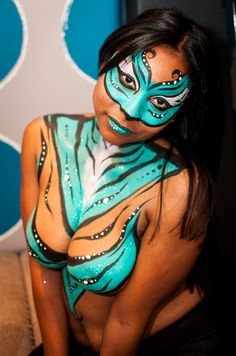 Face & Body Paint done by Frances Muslar at www.fancysfacepainting.com  Photography by David Vy Face And Body, Body Painting, Body Art, Erotic, Pin Up, Fancy, Artwork, People, Photography