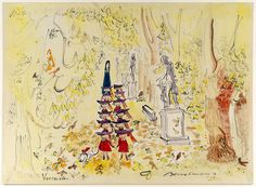 "A watercolor and gouache drawing of ""Madeline at Versailles"" from around 1954. (From the Eric Carle Museum exhibition. © Ludwig Bemelmans, LLC)"