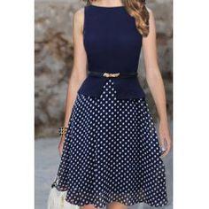 Wholesale Elegant Style Polka Dot Print Sleeveless Round Collar Wide Hem Belt Design Dress For Women (CADETBLUE,M), Vintage Dresses - rosewholesale.com
