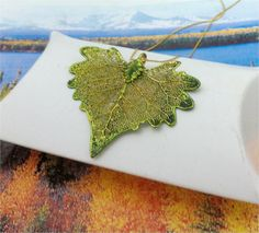Real Leaves, Cottonwood Leaf Necklace Pendant, NEW Autumn Forest Green Patina Fall Wedding idea