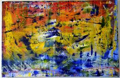INSPIRED BY MR GERHARD RICHTER ORIGINAL OIL PAINTING EVELYN SPATZ ABSTRACT 24x36 #Expressionism