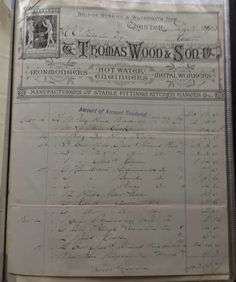 Thomas Wood & Son Chester Manufacturing Ironmongers Invoice Dated 1893
