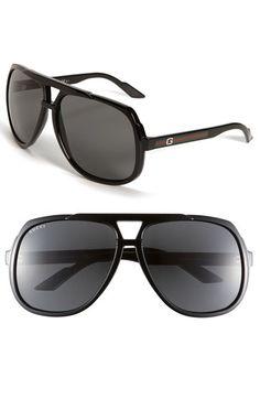 Gucci Temple 63mm Aviator Sunglasses
