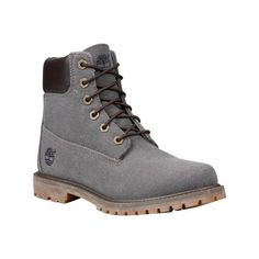 Women's Timberland 6 Inch Premium Ankle Boot - Dark Olive Waxed Canvas... ($150) ❤ liked on Polyvore featuring shoes, boots, ankle booties, casual, eco friendly shoes, timberland boots, lace up boots, timberland booties, lace up ankle bootie and laced ankle boots