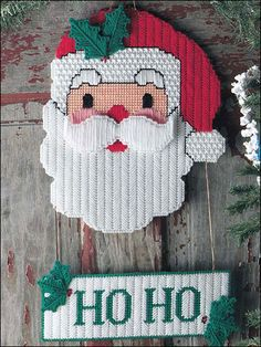Plastic Canvas - Christmas Patterns - Ho Ho Santa Door Hanger