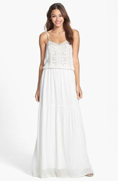 French Connection 'California' Eyelet Detail Chiffon Blouson Maxi Dress available at #Nordstrom