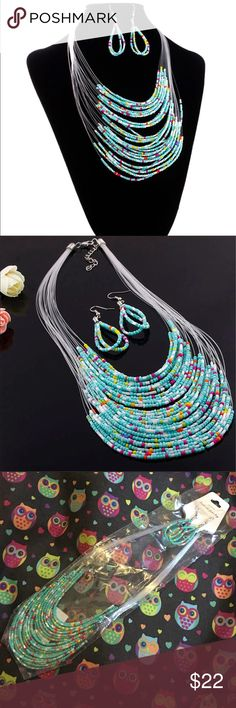 """Turquoise Necklace Set Beautiful necklace and earrings set. Necklace is about 20"""". Earrings hang about 2 1/2"""". New in package. Jewelry Necklaces"""