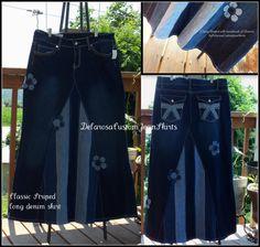 Clásico a rayas largo falda Jean personalizado a su tamaño 0 2 4 6 8 10 12 14