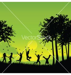 Children playing vector 74979 - by kjpargeter on VectorStock®