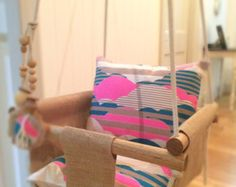 Handmade Burlap Baby Swing Toddler Swing or Kids by IndicoandMe