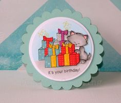 Just Kate crafting: Birthday card using Newton's Nook Designs stamp set: Newton's Birthday Bash