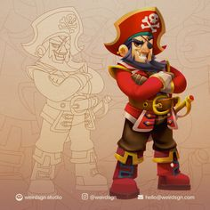 ArtStation - Character Design: Male Pirate, weirdsgn studio Character Design Tips, Character Design References, Game Character, Pirate Illustration, Pirate Games, Cute Cartoon, Pirates, Anime Characters, Original Paintings