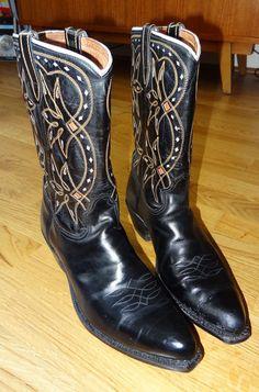 Vtg 1960's ACME Inlaid Cutout Cowboy Western Boots  #Acme #CowboyWestern