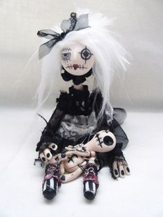 Hand Made Gothic Rag Art Doll Vampire by SpookyButCute on Etsy, $69.00