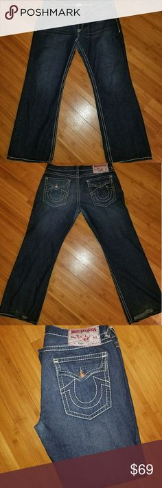 True Religion Sz 42x33 These still look new the only wear is at the bottom as shown in photos. You can not notice them at all when worn.  Absolutely NO stains. All stitching and buttons like new.  Smoke free, pet free home.  Ready to ship True Religion Jeans Bootcut