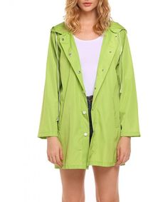 eb9518d810a5 Womens Lightweight Long Raincoat Waterproof Windbreaker Active Outdoor Hooded  Jacket - Green - CZ186G9ISOH. Hooded JacketVest JacketWaterproof Rain ...