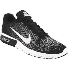 Nike Air Max Sequent 2 Running Shoes - Mens Black White Team Red