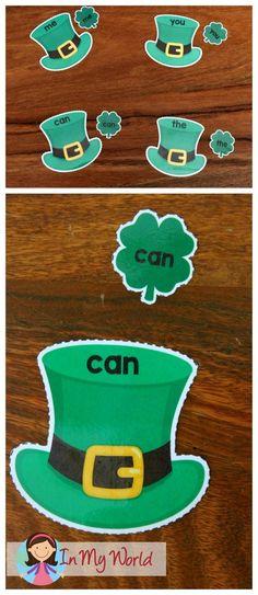 FREE St. Patrick's Day Preschool Centers Hat and shamrock sight word mathcingmatching