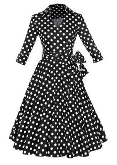 Vintage Flat Collar Polka Dot Waist Lace-Up Dress For WomenVintage Dresses | RoseGal.com