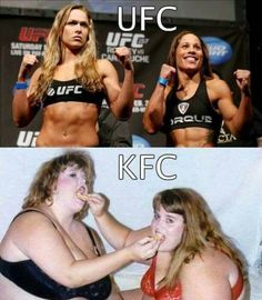 UFC vs, KFC - Real Funny has the best funny pictures and videos in the Universe! Some Funny Jokes, Funny Signs, You Funny, Funny Cute, Funny Memes, Hilarious, Funny Stuff, Funny Shit, Best Funny Pictures