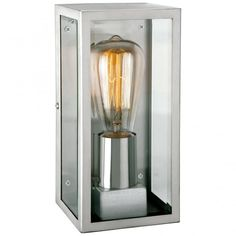 The contemporary Conner box wall light in stylish black finish with glass panels. Pair with a filament bulb for vintage charm. Outdoor Flush Mounts, Outdoor Wall Lantern, Outdoor Wall Sconce, Outdoor Wall Lighting, Outdoor Walls, Outdoor Box, Vintage Light Bulbs, Light Fittings, Glass Panels