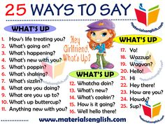 25 Ways to Say WHAT'S UP English Writing Skills, English Lessons, English Vocabulary, English Grammar, Learn English Words, English Phrases, English Study, English Posters, Sms Language
