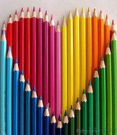 pencil rainbow heart