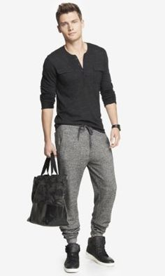 marled fleece drawstring jogger pant from EXPRESS Fleece Joggers, Mens Joggers, Jogger Pants, Sweatpants, Fashion Joggers, Drawstring Pants, Well Dressed Men, Stylish Men, Lounge Wear