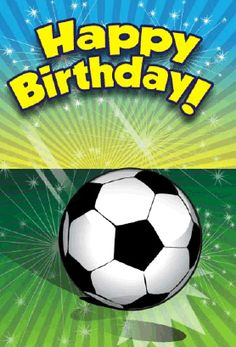 Sports lovers will enjoy this birthday card, which features a soccer ball on the front. Free to download and print