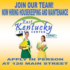 Now hiring maintenance and housekeeping. Apply in person at 126 Main Street, Pikeville, KY. No phone calls please!