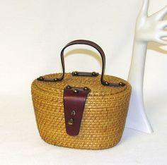 Vintage 1960s Etienne Aigner Nantucket style woven basket purse