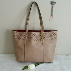 """NEW Beautiful Tote Bag Lightweight.Never Worn. Brand New Faux Leather Bag. Great for School, office or casual.  Open Top,Double handles with 11"""" drop Exterior features gold tone hardware and removable key fob.  Interior features 1 hanging zip pocket  15"""" W ? 12"""" H ? 6 -1/2"""" D  Smoke and pet free household.  Feel free to make an offer price are negotiable. INC Bags Totes"""