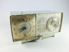 Vintage General Electric Clock Radio 1950s Mid Century Ivory Off White Home Decor Working Condition Retro Electronics - pinned by pin4etsy.com