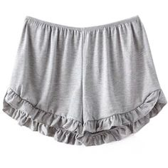 Pure Color Cute Elastic Ruffles Loose Women  Sport Shorts (111490 PYG) ❤ liked on Polyvore featuring shorts, bottoms, light gray, women bottoms shorts, multi colored shorts, sports shorts, loose fit shorts, flounce shorts and frilly shorts