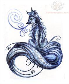 Blue Fox Tattoo Design