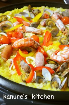 Seafood Recipes, Cooking Recipes, Griddles, Clams, Bite Size, Paella, Bacon, Stuffed Peppers, Vegetables