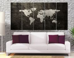Dark World Map Photo Canvas Print   High Quality by GiftVilage
