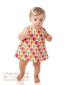 Baby Dress Pattern - Downloadable PDF Sewing Pattern Easy Reversible Dress with Open Back. $6.95, via Etsy.