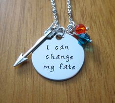 "Disney's ""Brave"" Inspired Necklace. Merida quote ""I can change my fate"" by WithLoveFromOC, $21.00 #Swarovski"