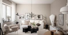Dom i dizajn - Interijeri Living Room And Dining Room Design, Living Room Kitchen, Round Wood Dining Table, Small Workspace, Black Coffee Tables, Attic Bedrooms, White Sofas, Beautiful Living Rooms, Grey Walls