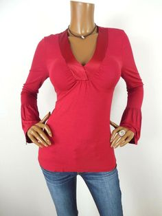 8ec0069091a INC Womens Top M VALENTINE S DAY Shirt Red Stretch Long Bell Sleeves Casual   INCInternationalConcepts