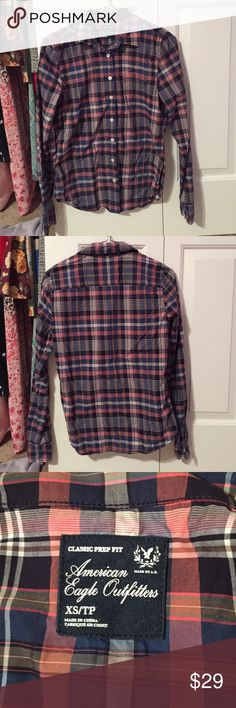 American Eagle Blue and Orange Plaid Top New without tags. Has one front pocket (see last picture). American Eagle Outfitters Tops Button Down Shirts