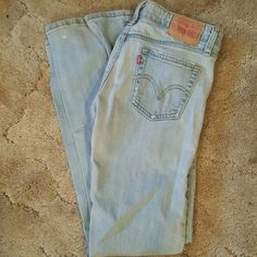 Levis Levis super low boot cut size 30 has small white spot on bottom leg and small dirt stain as shown in pic 3 Levi's Jeans Boot Cut