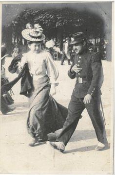 France. A man in uniform walks with a girl, Paris, 1906 // by Edward Linley Sambourne