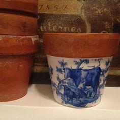 Pastoral Toile Planter Cache Pot Blue & White by SummerBirdDesign