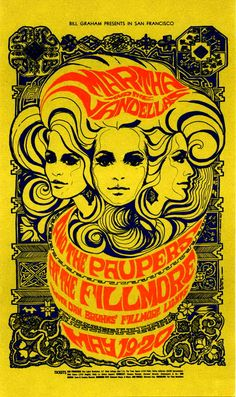 "Bonnie Maclean's poster promo-ing Martha & the Vandellas + the Paupers - May 1967. What grace and confidence. Love her use of ornament sourcebooks such as ""The Grammar of Ornament""."