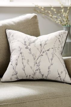 Buy Willow Embellished Floral Cushion from the Next UK online shop Big Cushions, Floral Cushions, Scatter Cushions, Wallpaper Samples, Wall Wallpaper, Fabric Sofa, Grey Fabric, Happy Friday, Wallpaper Please