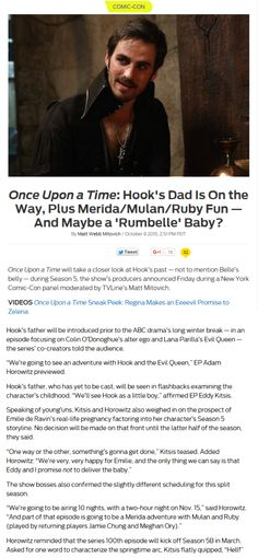 Once Upon a Time: Hook's Dad Is On the Way, Plus Merida/Mulan/Ruby Fun — And Maybe a 'Rumbelle' Baby?