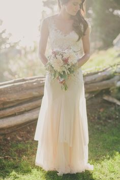 Jennifer's intimate Big Sur wedding...such an etheral, gorgeous shot!   Blush wedding gown - Briana by Sarah Janks