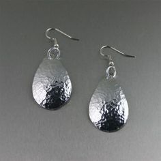 Hammered #Aluminum Tear Drop Earrings - Makes a Unique #10th Wedding #Anniversary Gift! by johnsbrana, $30.00